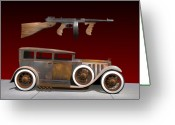 Tommy Gun Greeting Cards - Big Als Rat Caddy Greeting Card by Stuart Swartz