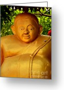 Buddhist Temple Greeting Cards - Big-bellied Greeting Card by Dean Harte