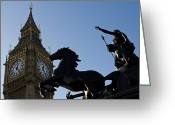 Iceni Greeting Cards - Big Ben and Boadicea Statue  Greeting Card by David Pyatt