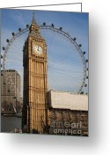 Big Wheel Greeting Cards - Big Ben and Eye Greeting Card by Donald Davis
