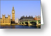United Kingdom Greeting Cards - Big Ben and Westminster bridge Greeting Card by Elena Elisseeva