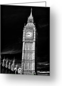 Eire Greeting Cards - Big Ben Black Greeting Card by John Rizzuto