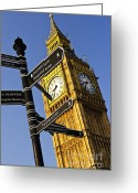 Signpost Greeting Cards - Big Ben clock tower Greeting Card by Elena Elisseeva