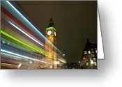 Big Ben Greeting Cards - Big Ben Clocktower And Light Trails Greeting Card by Henry Donald