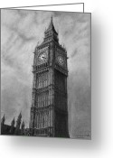 Clock Drawings Greeting Cards - Big Ben London Greeting Card by David Rives
