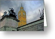 London Underground Mixed Media Greeting Cards - Big Ben Greeting Card by Peter Allen