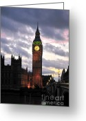 Large Clock Greeting Cards - Big Ben Sunset Greeting Card by Jim Chamberlain