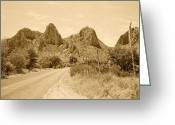 Fine Art Framed Prints Greeting Cards - Big Bend National Park Drive Greeting Card by M K  Miller