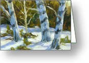 Winter Trees Greeting Cards - Big Birches In Winter Greeting Card by Richard T Pranke