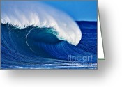 North Shore Greeting Cards - Big Blue Wave Greeting Card by Paul Topp