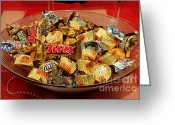 Candy Bars Greeting Cards - Big Bowl Of Chocolate Candy Greeting Card by Andee Photography