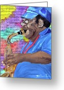 Player Mixed Media Greeting Cards - Big Boy Sax Greeting Card by Michael Lee