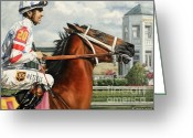 Jockeys Greeting Cards - Big Brown at Churchill Greeting Card by Thomas Allen Pauly