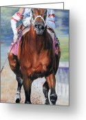 Churchill Downs Greeting Cards - Big Brown Charging Down the Stretch Greeting Card by Thomas Allen Pauly