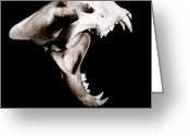 Sharp Teeth Greeting Cards - Big Cat Skull Greeting Card by Neal Grundy