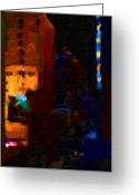 Long Street Greeting Cards - Big City Abstract Greeting Card by Wingsdomain Art and Photography