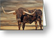 Longhorns Greeting Cards - Big Dawg Greeting Card by Robert Anschutz