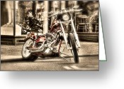 Tonemapped Greeting Cards - Big Dog Cycle Greeting Card by Spencer McDonald