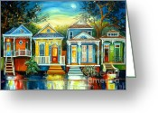 Moonlight Greeting Cards - Big Easy Moon Greeting Card by Diane Millsap