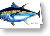Mako Shark Greeting Cards - Big Eye Tuna Greeting Card by Carey Chen