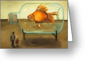 Aquarium Painting Greeting Cards - Big Fish Greeting Card by Leah Saulnier The Painting Maniac