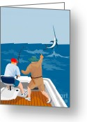 Jumping Digital Art Greeting Cards - Big Game Fishing Blue Marlin Greeting Card by Aloysius Patrimonio