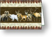 Elk Greeting Cards - Big Game Lodge Greeting Card by JQ Licensing