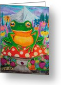 Frog Art Greeting Cards - Big green frog on red mushroom Greeting Card by Nick Gustafson