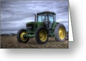 Cornfield Greeting Cards - Big Green Tractor Greeting Card by Robert Jones