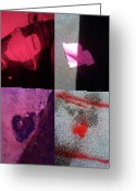 Grid Of Heart Photos Digital Art Greeting Cards - Big Hearts Pink Red Purple Greeting Card by Boy Sees Hearts