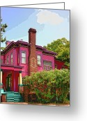 Savannah Square Greeting Cards - Big Pink Savannah Greeting Card by William Dey