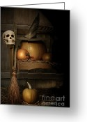 Pumpkin Farm Greeting Cards - Big pumpkin with black witch hat and broom Greeting Card by Sandra Cunningham