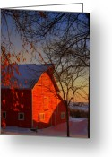 Red Barns Greeting Cards - Big red barn Greeting Card by Julie Lueders
