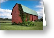 Red Barns Greeting Cards - Big Red Barn On Rt 227 Greeting Card by Gary Heller