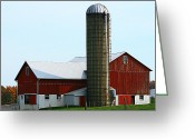 Amish Farms Greeting Cards - Big Red Barn Greeting Card by Rick Buzalewski
