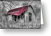 Red Roof Greeting Cards - Big Red Greeting Card by Debra and Dave Vanderlaan