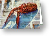 Louisiana Seafood Greeting Cards - Big Red Greeting Card by Dianne Parks