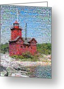 Beach Photo Greeting Cards - Big Red Photomosaic Greeting Card by Michelle Calkins