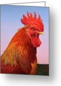 Rooster Greeting Cards - Big Red Rooster Greeting Card by James W Johnson