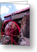 Old Mill Of Guilford Greeting Cards - Big Red Wheel Greeting Card by Sandi OReilly
