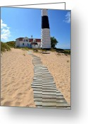 Trees Light Windows Greeting Cards - Big Sable Lighthouse at Ludington State Park Greeting Card by Michelle Calkins