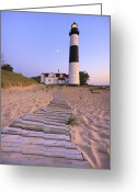 Beacon Greeting Cards - Big Sable Point Lighthouse Greeting Card by Adam Romanowicz