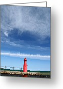 Beauty Mark Greeting Cards - Big Sky Over Algoma Lighthouse Greeting Card by Mark J Seefeldt