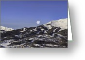 Moon Set Greeting Cards - Big Sky Panorama Greeting Card by Mark Harrington