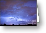 Lightning Weather Stock Images Greeting Cards - Big sky with small lightning strikes in the distance. Greeting Card by James Bo Insogna