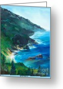 Beaches Drawings Greeting Cards - Big Sur Califorina Greeting Card by Eric  Schiabor