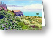 Central Painting Greeting Cards - Big Sur Cottage Greeting Card by Mary Helmreich