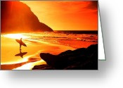 Surf Silhouette Greeting Cards - Big Sur Greeting Card by Steve Thorpe