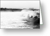 Surf Art Greeting Cards - Big Surf at Santa Monica Greeting Card by John Rizzuto