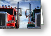 Photographs Greeting Cards - Big Trucks Greeting Card by Bob Orsillo